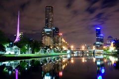 Melbourne nachts stockfoto