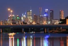 Melbourne nattcityscape Australien Fotografering för Bildbyråer