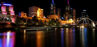 Melbourne by Night. Melbourne, Australia - Yarra River and Flinders Street Station - by night royalty free stock photography