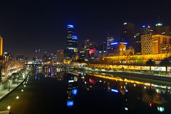 Melbourne at night Stock Images