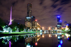 Melbourne at night Stock Photo
