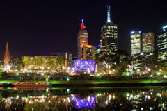 Melbourne at night. With reflection in Yarra river, Australia Royalty Free Stock Images