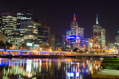 Melbourne at night, Australia. Melbourne at night, Victoria, Australia. Reflection in Yarra River Royalty Free Stock Photo