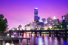Melbourne in night Stock Image
