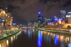 Melbourne night cityscape Australia Royalty Free Stock Images
