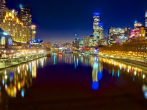 Melbourne at night looking down the yarra river Stock Photography