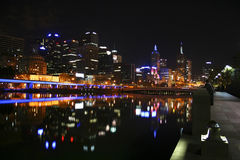 Melbourne at night, Victoria, Australia. Reflections of light on the Yarra River, Melbourne, Victoria, Australia Stock Photos