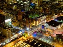 Melbourne och dess stadsfederationfyrkant Arkivfoto