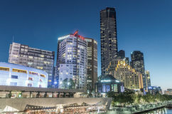 MELBOURNE - OCTOBER 2015: Beautiful city skyline at night. melbo Stock Photography