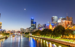 MELBOURNE - OCTOBER 2015: Beautiful city skyline at night. melbo Royalty Free Stock Photography