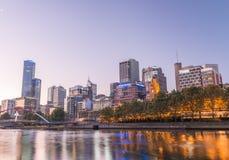 MELBOURNE - OCTOBER 2015: Beautiful city skyline at night. melbo Stock Image