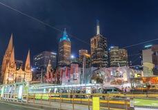 MELBOURNE - OCTOBER 2015: Beautiful city skyline at night. melbo Royalty Free Stock Photo