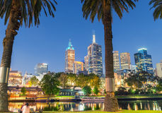 MELBOURNE - OCTOBER 2015: Beautiful city skyline over Yarra rive Royalty Free Stock Photo