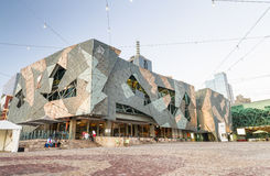 MELBOURNE - OCTOBER 2015: Federation Square with tourists. Melbo Royalty Free Stock Photos