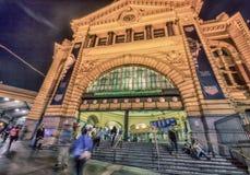 MELBOURNE - OCTOBER 2015: Flinders Street Station at night. The Stock Image