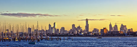 Melbourne Panorama. Melbourne, Australia, at dawn, viewed from St Kilda Royalty Free Stock Images