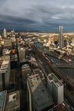 Melbourne-Panorama bei Sonnenuntergang Stockfotos