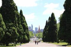 Melbourne par les arbres Images libres de droits