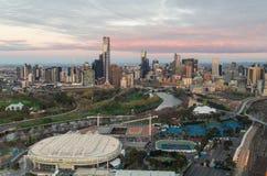 Melbourne Park tennis centre. Melbourne, Australia - September 15, 2013: aerial view of Melbourne Park tennis centre, home of the Australian Tennis Open.  In the Royalty Free Stock Images