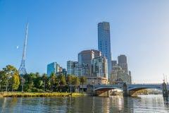 Melbourne Princes bridge cityscape Royalty Free Stock Photos