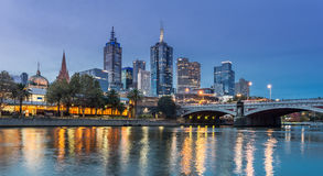 Melbourne Princess Bridge. Night skyline of Melbourne looking towards the Princess Bridge Royalty Free Stock Image