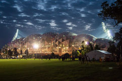 Melbourne Rectangular Stadium at night Stock Image