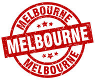 Melbourne red round stamp Stock Photography