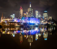 Melbourne reflected in the Yarra river Stock Photo