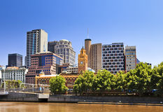 Melbourne River Bank Trees Day Royalty Free Stock Photography