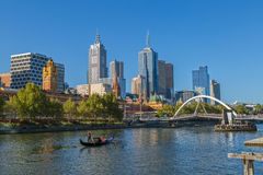Melbourne romantic gondola ride. MELBOURNE, AUSTRALIA - MARCH 21, 2015: View of the city from Southbank and a romantic ride in a gondola with the gondolier, on Royalty Free Stock Photos