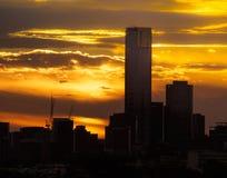 Melbourne ` s Eureka Basztowy sylwetkowy przeciw zmierzchowi Zdjęcie Royalty Free