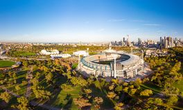 Melbourne Skyline Aerial with MCG. Melbourne`s famous skyline with Melbourne Cricket Ground stadium in the foreground on a cool autumn morning in Melbourne stock photos