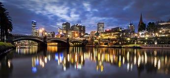 Melbourne 's nachts Australië Stock Foto