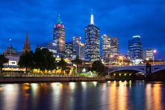 Melbourne's Skyline At Dusk Stock Photography