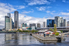 Melbourne's Southbank. View down the Yarra River towards the city and Southbank Royalty Free Stock Photo