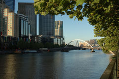 Melbourne's Yarra River & Southbank. The foot-bridge that connects Melbourne's central business district to the restaurants and residential towers of the Royalty Free Stock Photography