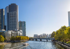 Melbourne with Sandridge Rail Bridge Stock Photography