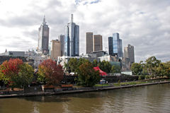 Melbourne skyline. Over the river Royalty Free Stock Photo