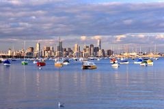 Melbourne skyline. View of Melbourne skyline from Williams Town's marina. Australia Royalty Free Stock Photography