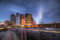 Melbourne Skyline. Melbourne city skyscrappers taken at twilight