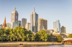 Melbourne skyline along Yarra river, Australia Royalty Free Stock Image