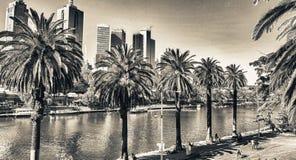 Melbourne skyline along Yarra river, Australia Royalty Free Stock Photography