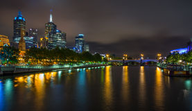 Melbourne skyline along the Yarra River at dusk. Royalty Free Stock Images