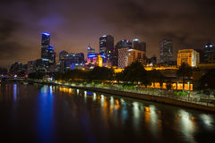 Melbourne skyline along the Yarra River at dusk. Stock Photography