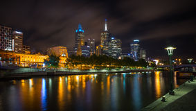 Melbourne skyline along the Yarra River at dusk. Royalty Free Stock Photography