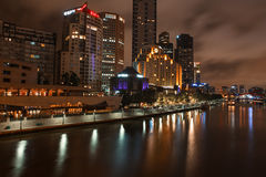Melbourne skyline along the Yarra River at dusk. Stock Photos