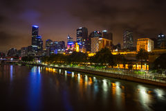 Melbourne skyline along the Yarra River at dusk. Royalty Free Stock Photo