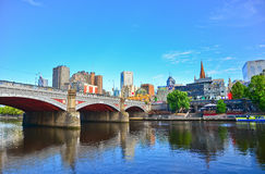 Melbourne skyline along Yarra River in summer Stock Image