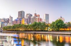 Melbourne skyline along Yarra river at sunset, Australia Stock Photography