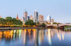 Melbourne skyline along Yarra river at sunset, Australia Royalty Free Stock Image
